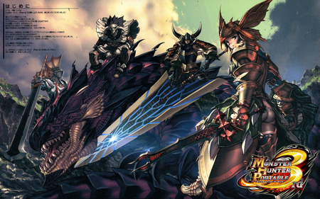 Anime - sky, dragon, armor, anime, sword