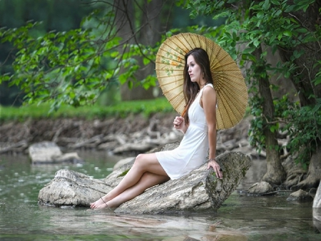 Lady And The Lake - forest, female, woods, umbrella, creek, woman, lake, water, girl, nature, lady, photagraphy