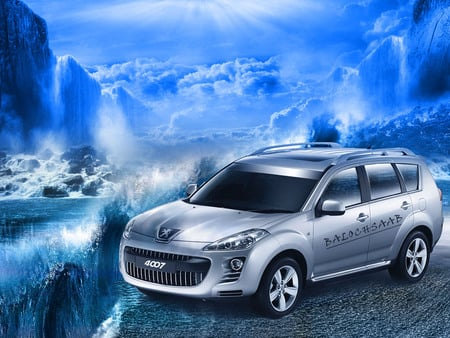4007 - emirates, dubai, sea, bluebird, dxb, europe, 4 x 4, car, bloshi, peugeot, 4007, automobiles, uae, vehicles, balochistan, sky, baloch, water, france, irfan, balochsaab