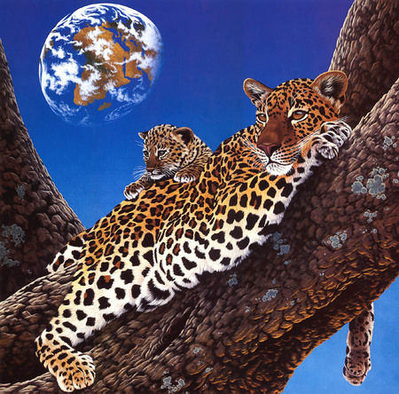 mother lepoard and cub art by William Schimmel