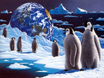penquins in space art by William Schimmel