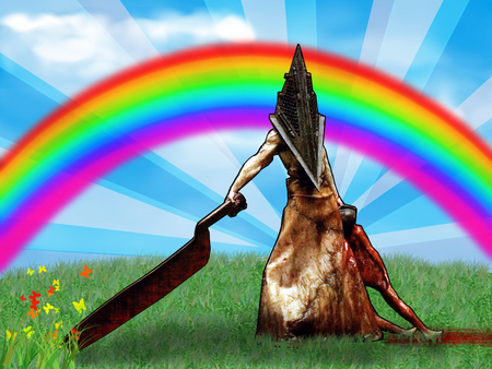 Pyramid Head - games, playstation, grass, pyramid head, flowers, rainbow, machete