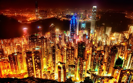Amazing City Skyline - town, lights, skyscrapers, metropolis, night time, city, towers, skyline, metro, down town