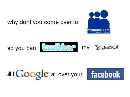 dirty logos - yahoo, dirty, facebook, twitter, google, logos, myspace