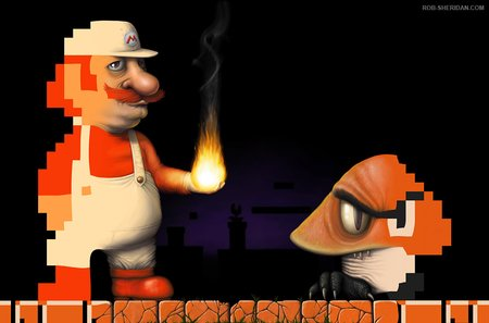 old school-new school mario - nintendo, fireball, mario