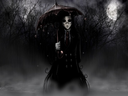 Tinkerbell-Umbrella - night, black, dark, moon, forest, branches, rain, umbrella, creepy, fog, glasses, spooky, trees, nature, storm, fantasy, tinkerbell, full moon, woman, hellsing ultimate, girl