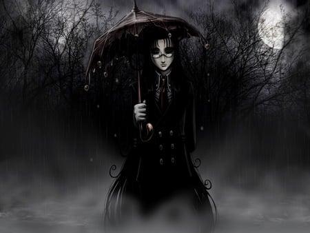 Tinkerbell-Umbrella - dark, forest, branches, spooky, woman, glasses, fog, moon, full moon, night, hellsing ultimate, storm, nature, tinkerbell, trees, fantasy, creepy, girl, black, umbrella, rain
