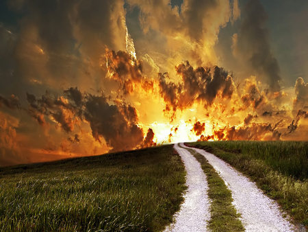 Pathway Sunset - roadway, path, sunset, clouds, grassy field, tracks