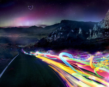 Chain of Colors - colorful, 3d and cg, pink, path, natural, asphalt, orange, galaxies, animals, dragon, rocks, sunrise, horizon, road, photoshop, planets, peaks, trail, stones, black, gray, photography, abstract, escarlate, red, universe, mounts, carlet, moons, violeta, horse, violet, sunset, scarlat, blue, colors, mountains, heart, nature, chain, yellow, purple, fantasy, stars, green, photo, aurora borealis