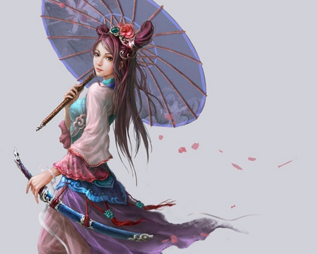 Martial - pretty, umbrella, beautiful, nice, blade, anime, hot, beauty, anime girl, weapon, sword, petal, sexy, cute, girl, oriental, chinese