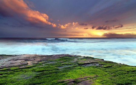 Beautiful - colorful, blue, ocean, peaceful, sky, colors, waves, nature, beautiful, clouds, green, sea