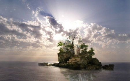 Fantasy Wallpaper - sun, ocean, white clouds, trees, abstract, sky, clouds, skies, fantasy, nice, water, sun rays, island