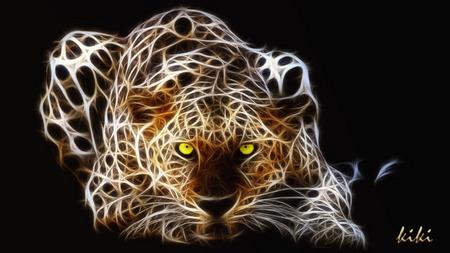 Leopard - leopard, spots, cat, art, wild, fractal