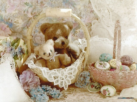 Teddys - baskets, nice, teddybears, lace, decorative eggs, flowers, childhood