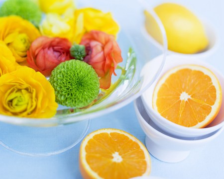 Citrus n flowers - fruit, citrus, flowers, roses, bowls, lemon, oranges, mums wedges