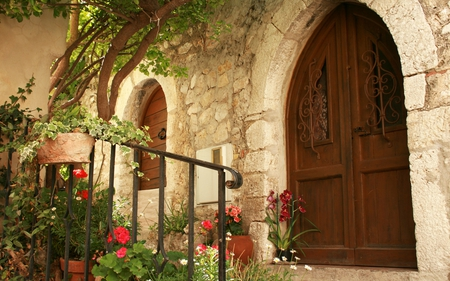 Eze Village - flowers, village, door