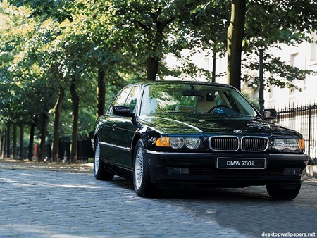 BMW 750i - tree, road, bmw, tyres