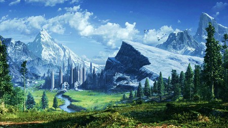 Planet Alderaan - forest, lovely, grass, alderaan, beautiful, trees, sky, clouds, city, green, mountains, nature, hill, landscape, blue