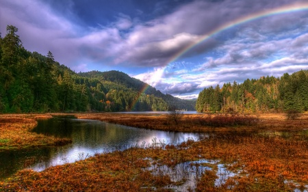 After The Rain - colorful, peaceful, lake, lago, tree, forest, rainbow, montanhas, landscape, autumn, sky, colors, splendor, autumn leaves, mountains, nature, trees, woods, beauty, beautiful, lovely, natureza, arco iris, clouds, view, autumn colors, rain, leaves