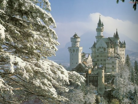 Neuschwanstein-Castle-Bavaria-Germany - forest, neuschwanstein, snow, castle, germany, nature