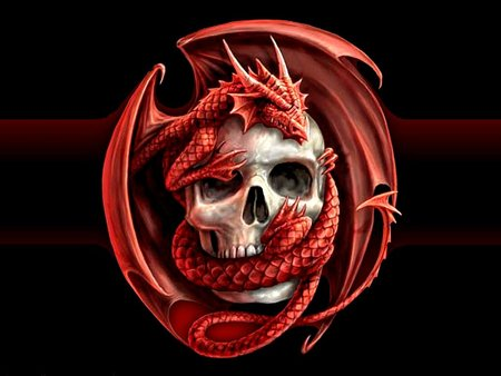 Dragonic Evil Skull - skull, scary, evil, black, dragon, red