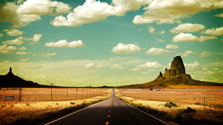 Road... - drum, road, sky, car, mountains, desert, nature, clouds, field