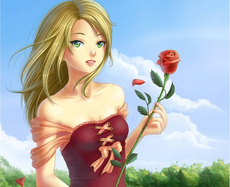 Girl with a Rose - dress, cloud, scenic, rose, sky, sexy, cute, girl, anime, flower, hot, anime girl, scene