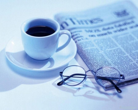 Good morning - coffee cup, blue, newspaper, white, coffe, fluid, abstract, beautiful, other, glasses, photo