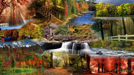 Autumn Glory - fall, lakes, autumn, firefox persona, seasons, waterfalls, tree, mountains, color, river