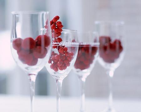 Glasses & Cherries - beautiful, cherry, cherries, four, glasses, glass, red
