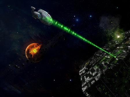 Voyager vs The Borg - space scifi, ship, star trek, voyager