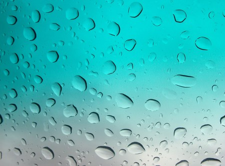 Raindrops - rain, water, blue, raindrops, white