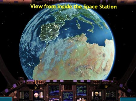 Snap shot of earth - panel, space station, earth, view