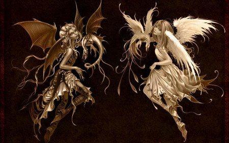 Sweet Dream Or A Beautiful Nightmare? - fantasy, abstract, demon, angel