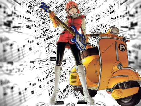 FLCL Haruko - fooly cooly, haruko, guitar, scooter, anime