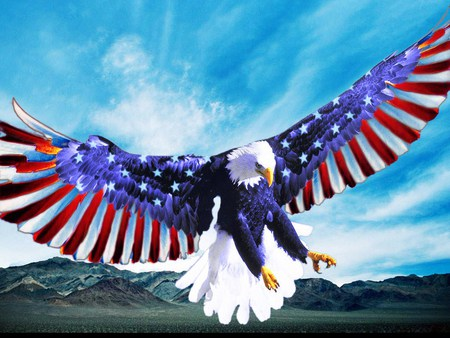 Happy July 4 to my American friends - red white and blue, american eagle, sky, flag, celebrate