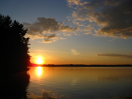 June Sunset in Northern Ontario - sunset, sky, trees, lake