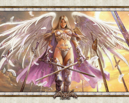 Warrior Angel - warcraft, fantasy, woman, winged warrior