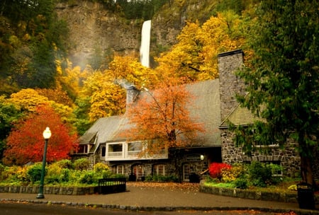 Waterfall Manor - mountain, streetlamp, autumn, house, water, cottage, flowers, trees