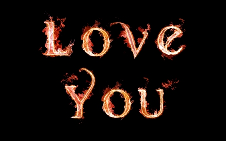 Love you - flames, colored, romantic, abstract, funny, letters, valentines day, flame, red, valentine, love you, love, valentines, fire, color, writing, colors, cool, alphabet, gift, black