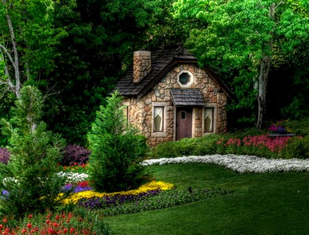 Fairytale Cottage - flowers, stone, grass, cottage, fairytail, trees, garden