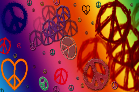 Peace and Love - love, symbols, colors, hippie, peace, collage