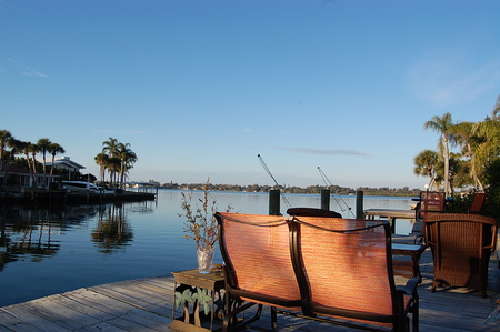 Sitting On The Dock Of The Bay - chairs, fishing polls, bay, deck