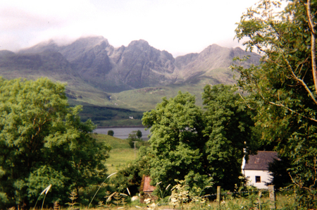 The Black Cuillins on Skye - loch, skye, mountains, inner hebrides, trees, cuillins