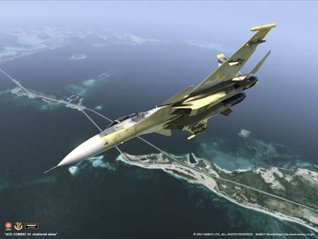Over The Island - war, hd, fighter, high, video game, sky, aircraft, fighter plane, battle, air plane, ace combat, fast