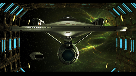 Enterprise In Space Dock - scifi, space, star trek, ship, tv, enterprise