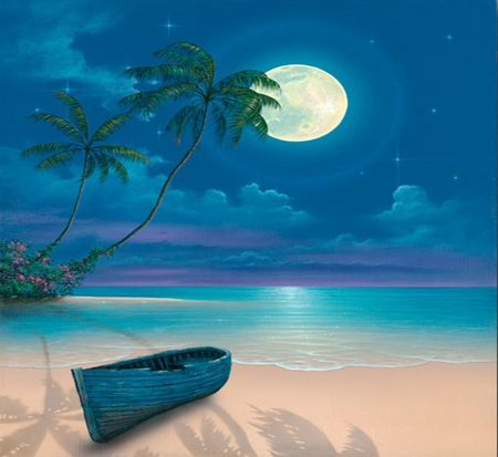 MOON SHADOWS - beach, moon, shadows, canoe, blue, night