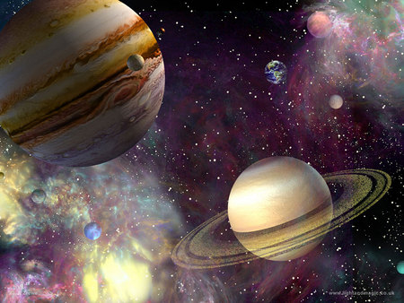 Jupiter and Saturn - Planets & Space Background Wallpapers