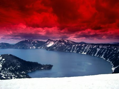 Untitled Wallpaper - red, red clouds, oregon, dsd, crater lake, scarlet skies, crater lake and wizard island
