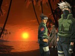 Kakashi, Iruka, 4th Hokage In The Sunset